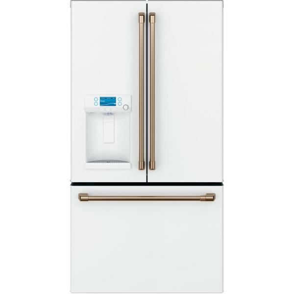 27.8 cu. ft. Smart French Door Refrigerator with Hot Water Dispenser in Matte White, Fingerprint Resistant