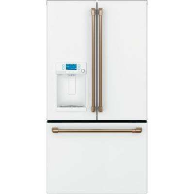 27.8 cu. ft. French Door Refrigerator with Hot Water Dispenser in Matte White, Fingerprint Resistant