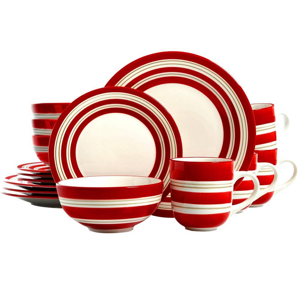 Sunset Stripes 16-Piece Red Dinnerware Set