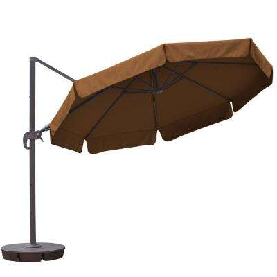 Freeport 11 ft. Octagon Cantilever with Valance Patio Umbrella in Stone Sunbrella Acrylic