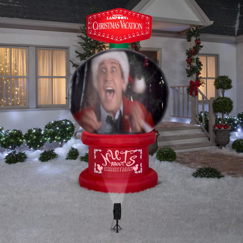 Model In Christmas Vacation.8 Ft Living Projection Pre Lit Inflatable Nlcv Snow Globe Airblown Scene Wb