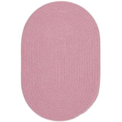 Joy Braids Solid Pink 5 ft. x 8 ft. Oval Indoor/Outdoor Braided Area Rug