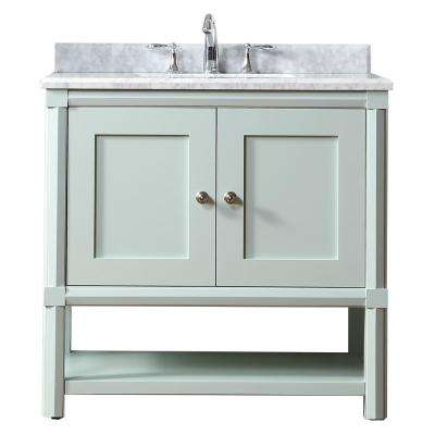 Sutton 36 in. W x 22 in D Vanity in Rainwater with Marble Vanity Top in White/Grey with White Basin