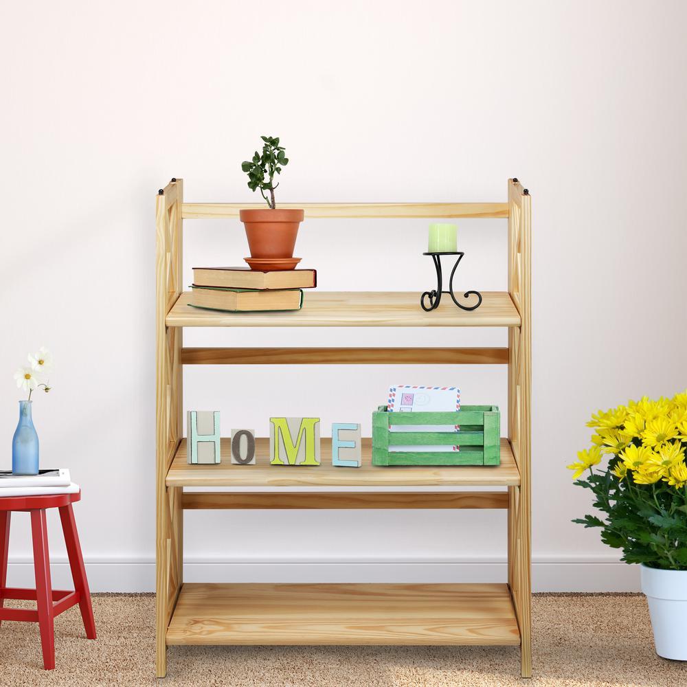 Brown Wood 3 Shelf Etagere Bookcase