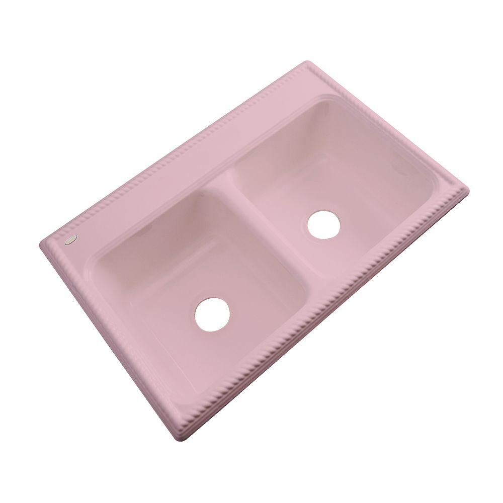 Thermocast Seabrook Drop-In Acrylic 33 in. Double Bowl Kitchen Sink in Dusty Rose