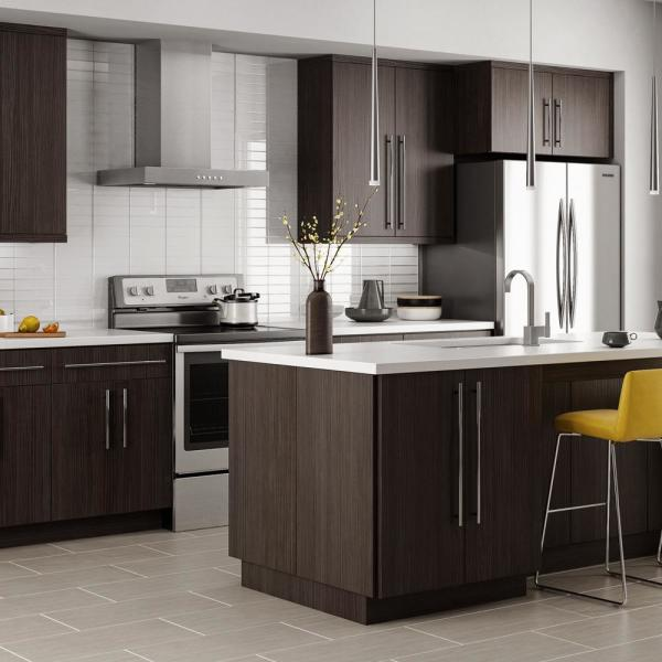 Hampton Bay Designer Series Edgeley Assembled 36x34 5x23 75 In Sink Base Kitchen Cabinet In Thunder Bs36 Edth The Home Depot