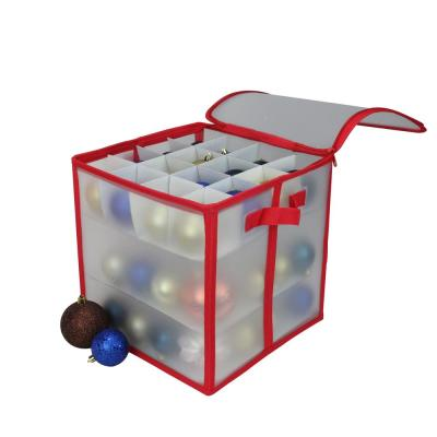 12 in. Red and Clear Zip Up Christmas Ornament Storage Bag (Holds 64-Ornaments)