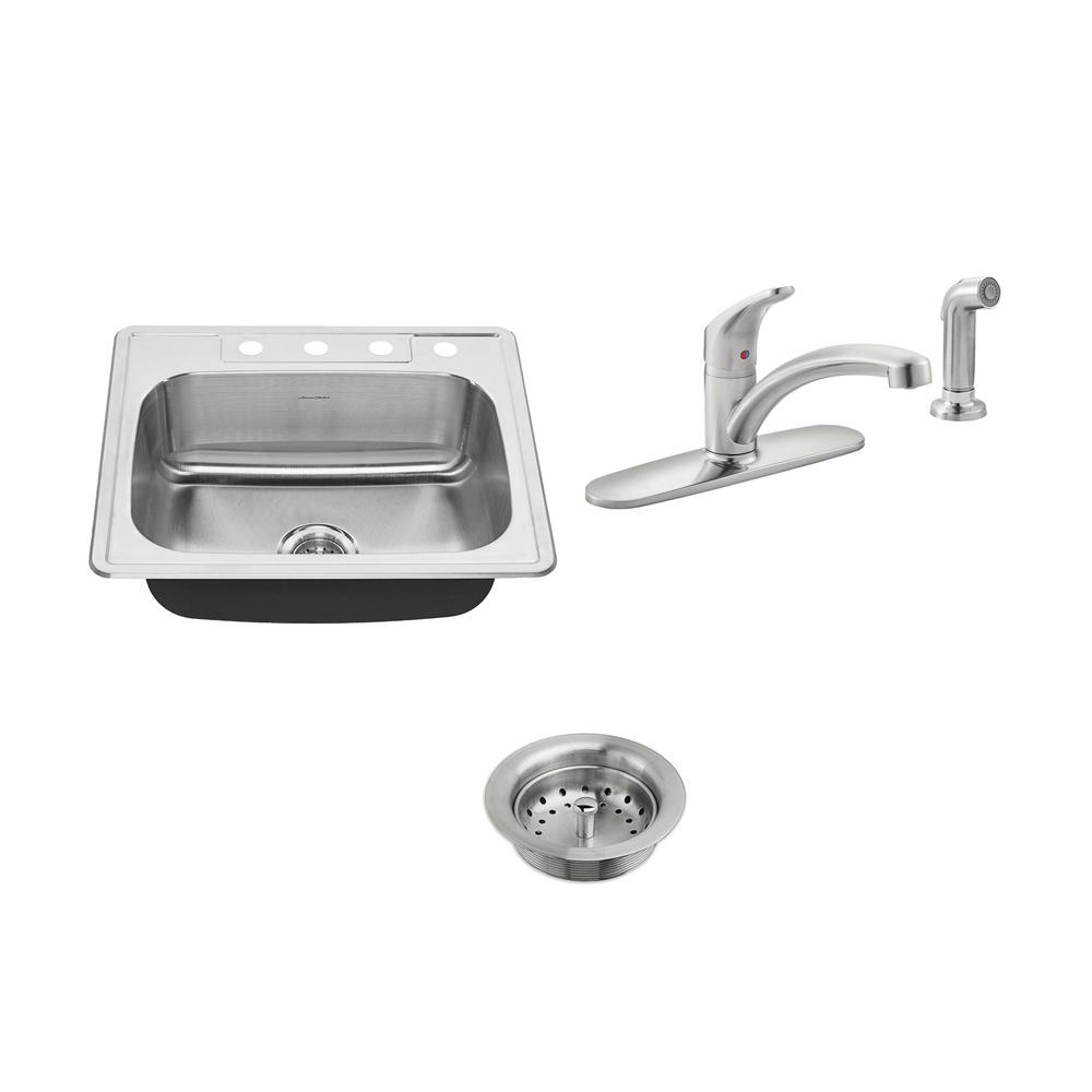 AmericanStandard American Standard Colony ADA All-in-One Drop-In Stainless Steel 25 in. 4-Hole Single Bowl Kitchen Sink with Faucet in Stainless Steel, Silver