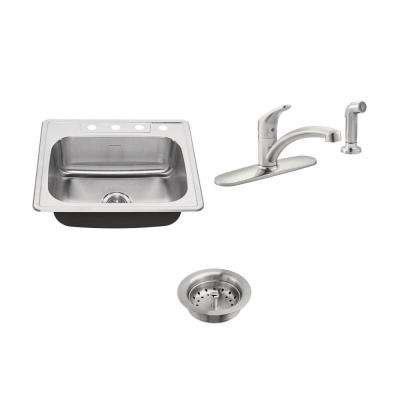 Colony ADA All-in-One Drop-In Stainless Steel 25 in. 4-Hole Single Bowl Kitchen Sink with Faucet in Stainless Steel