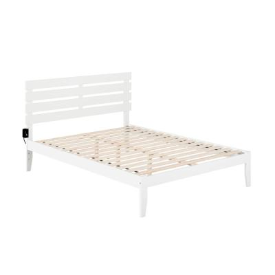 Oxford Queen Bed with USB Turbo Charger in White