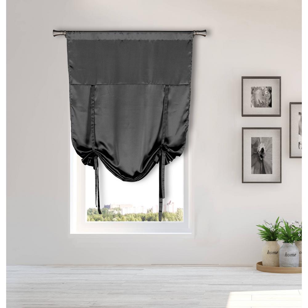Irene Grey Tie-up Room Darkening Curtain - 38 in. W x 63 in. L in (2-Piece)