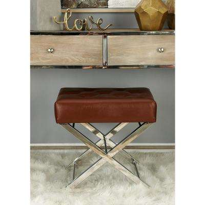Modern Brown and Silver Tufted Ottoman