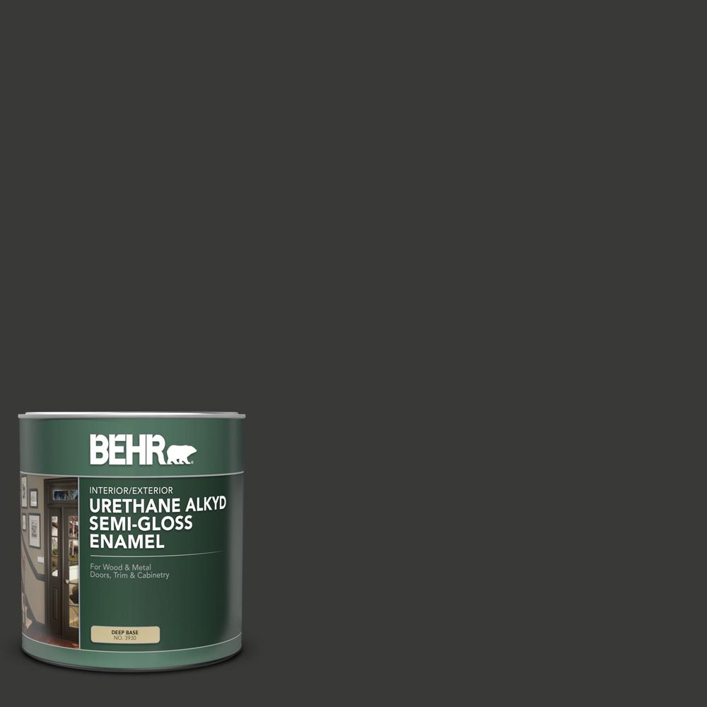 BEHR 1 qt. Home Decorators Collection #HDC-MD-04 Totally Black Semi-Gloss Enamel Urethane Alkyd Interior/Exterior Paint
