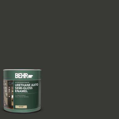 1 qt. Home Decorators Collection #HDC-MD-04 Totally Black Semi-Gloss Enamel Urethane Alkyd Interior/Exterior Paint