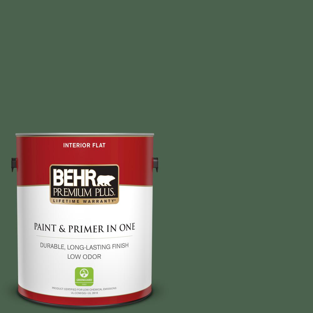 Reviews For Behr Premium Plus 1 Gal S410 7 Equestrian Green Flat Low Odor Interior Paint And Primer In One 130001 The Home Depot