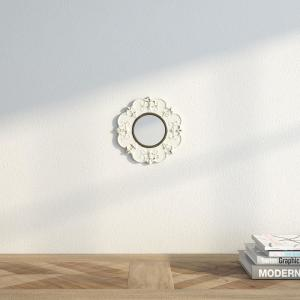 Stonebriar Collection 8 inch H x 8 inch W White Ceramic Distressed Round Mirror by