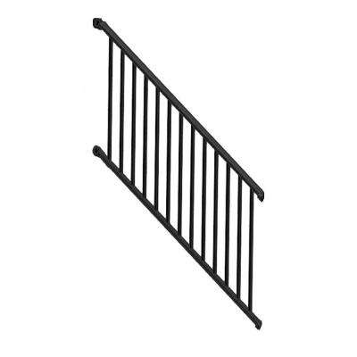 Classic Square 3 ft. H x 97-1/4 in. W Textured Black Aluminum Stair Railing Kit