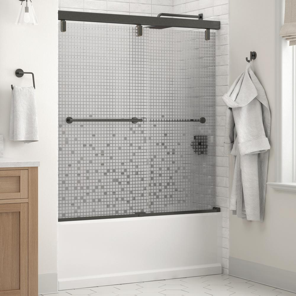 Delta Lyndall 60 x 59-1/4 in. Frameless Mod Soft-Close Sliding Bathtub Door in Bronze with 1/4 in. (6mm) Mozaic Glass was $690.0 now $479.0 (31.0% off)