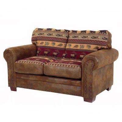 Sierra Lodge Brown and Rust Microfiber and Tapestry Pattern with Nail-Head Accents Loveseat