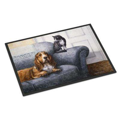 18 in. x 27 in. Indoor/Outdoor Basset Hound and Cat on Couch Door Mat