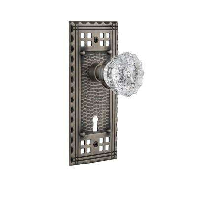 Craftsman Plate Interior Mortise Crystal Glass Door Knob in Antique Pewter