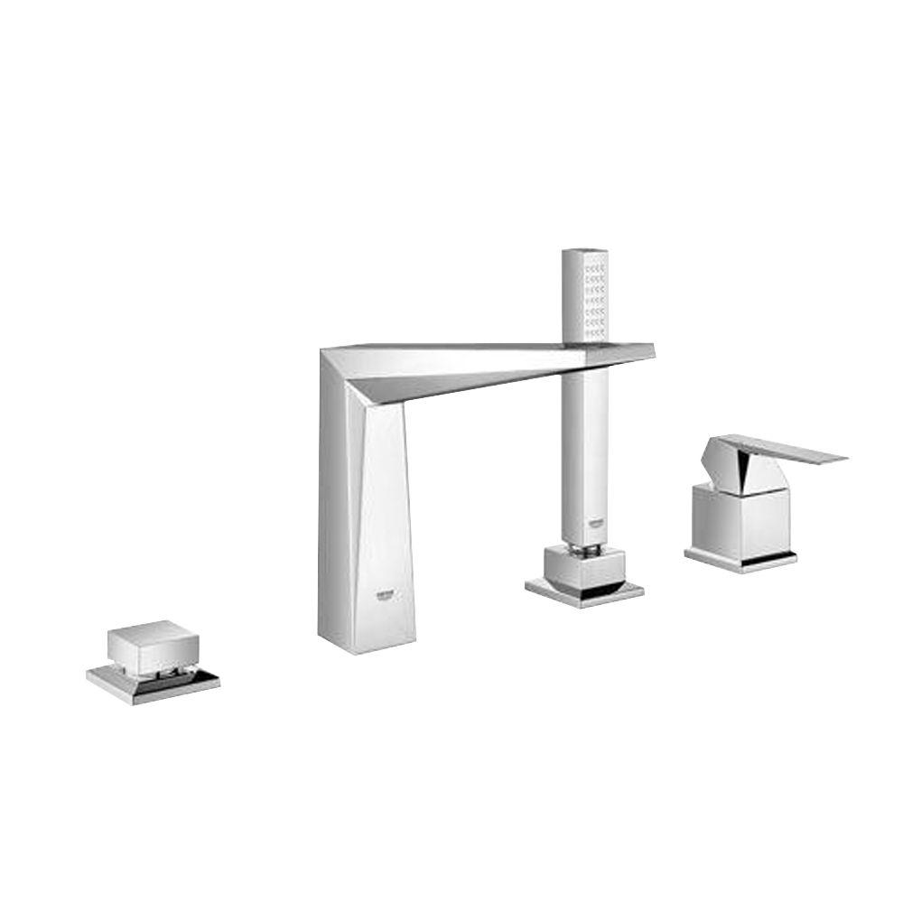 Allure Brilliant 7-13/16 in. 4-Hole Roman Tub Filler with Hand Shower