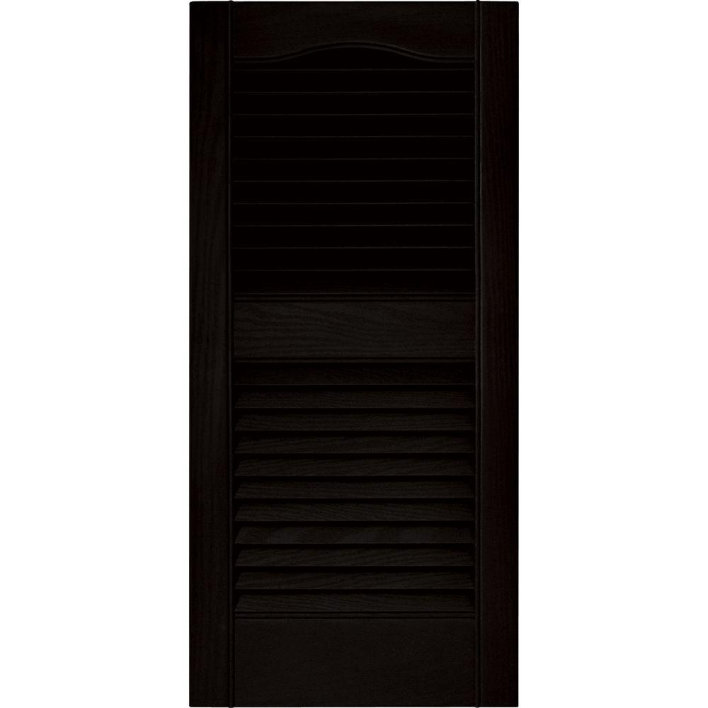 Builders edge 15 in x 31 in louvered vinyl exterior shutters pair in 002 black 010140031002 for Home depot exterior vinyl window shutters