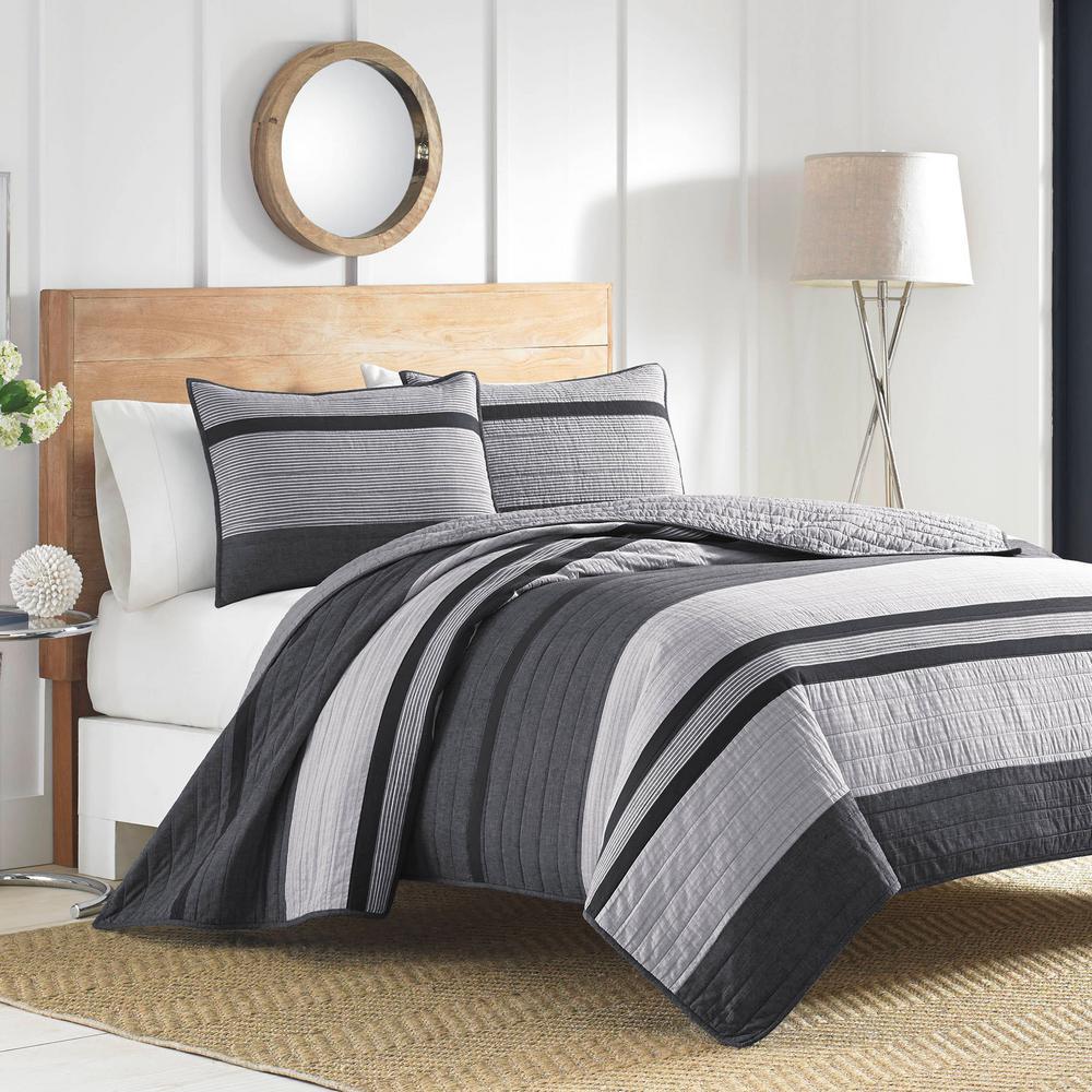 Vessey Dark Grey Full/Queen Cotton Quilt