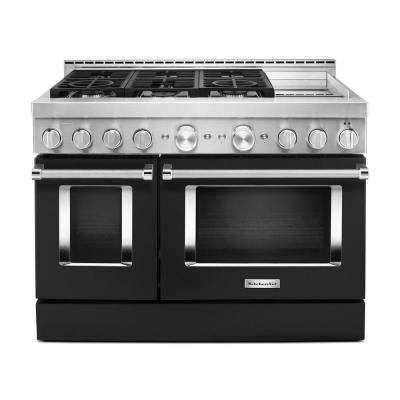 48 in. 6.3 cu. ft. Smart Double Oven Commercial-Style Gas Range with Griddle and True Convection in Imperial Black