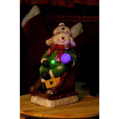 19 in. Snowman on Sleigh w/3 Color Changing LED Lights
