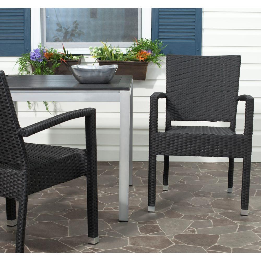 Kelda Black Aluminum PE Wicker Patio Armchair (2-Pack)