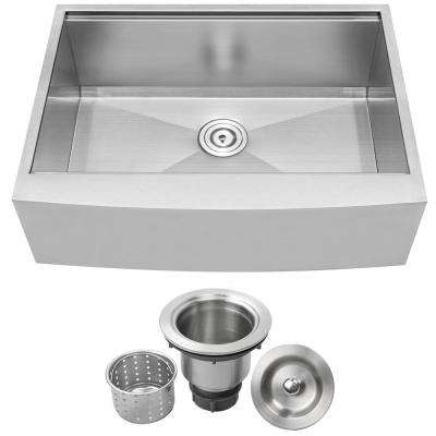 Bryce Zero Radius Farmhouse Apron Front 16-Gauge Stainless Steel 30 in. Single Basin Kitchen Sink with Basket Strainer