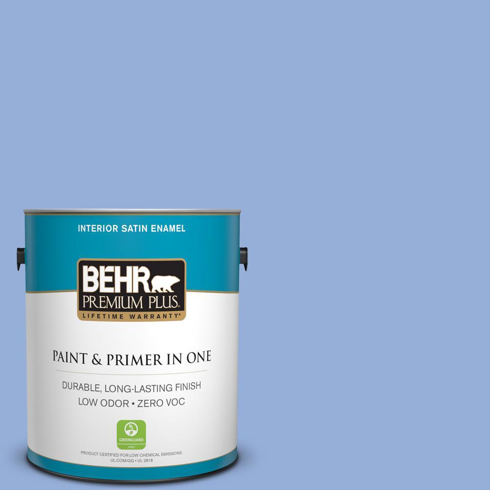 BEHR Premium Plus 1 gal. #590B-4 Anemone Satin Enamel Zero VOC Interior Paint and Primer in One