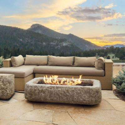 Antique Stone 59 in. Rectangle Propane Gas Fire Table in Chiseled Limestone
