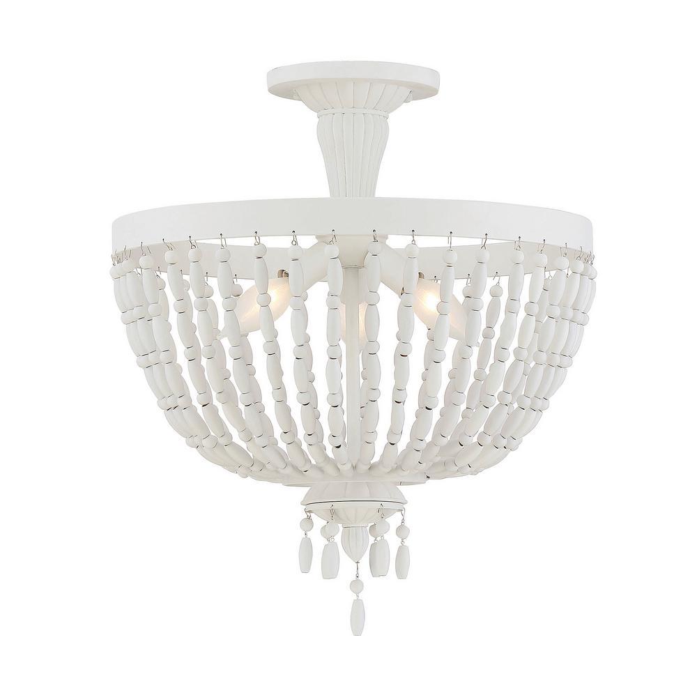 3-Light Porcellan Semi-Flush Mount