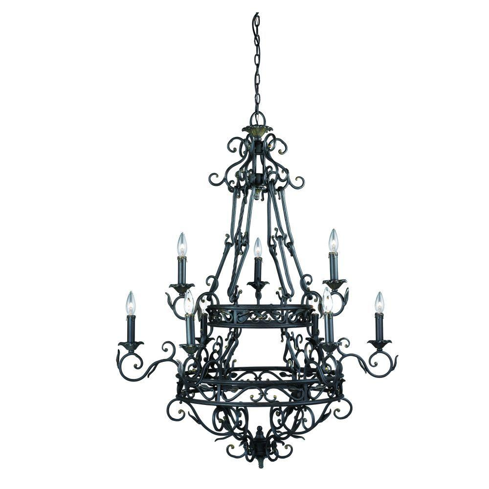 Eurofase Oxford Collection 9-Light 114 in. Hanging Burnt Sienna Chandelier-DISCONTINUED