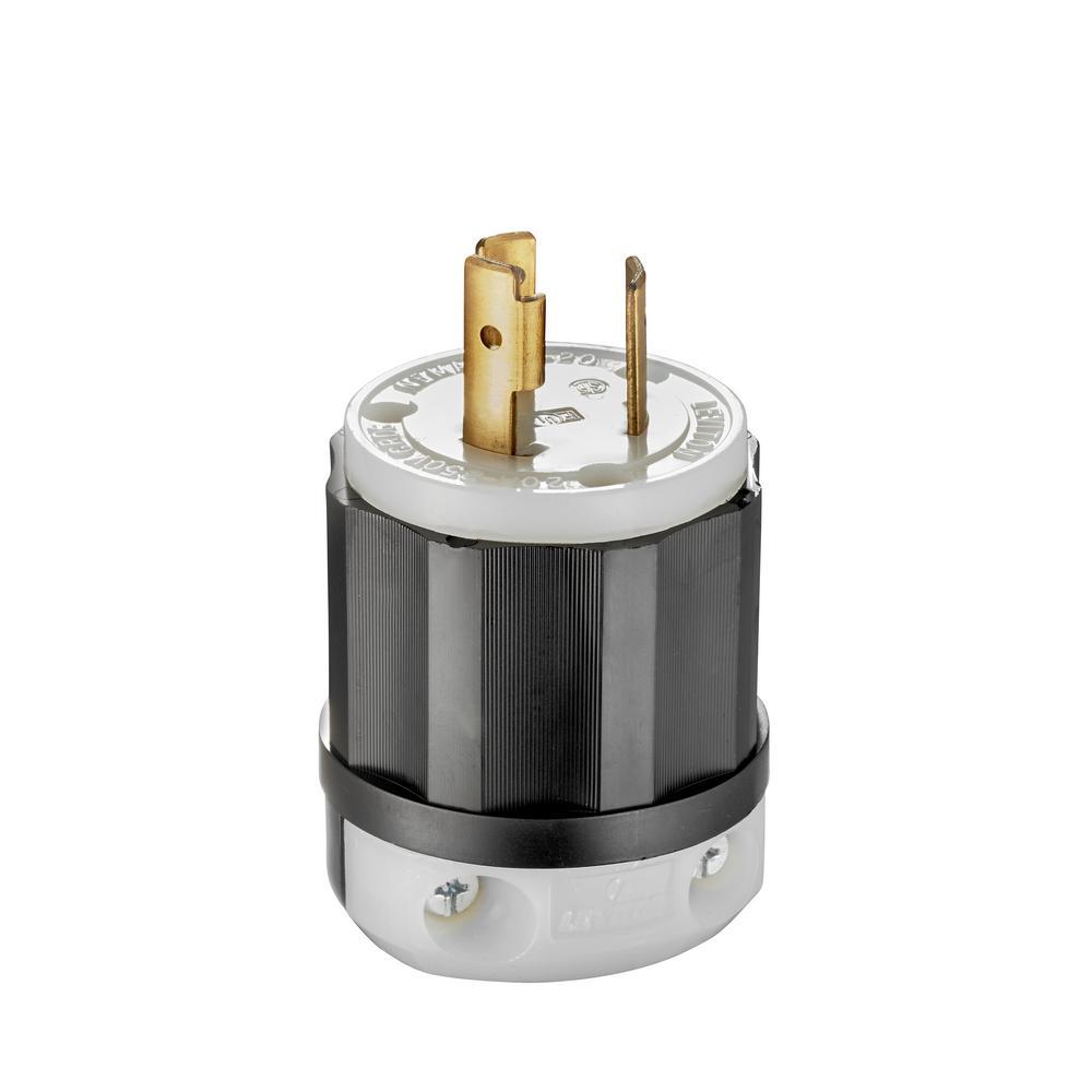 Leviton 20 Amp 250-volt Locking Plug  Black And White-r50-02321-0cs
