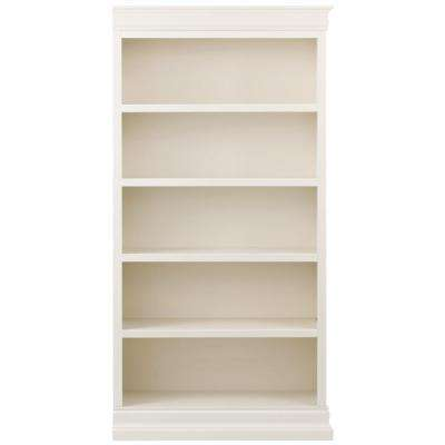 Louis Philippe Modular Right Polar White Open Bookcase