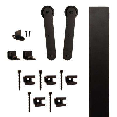 Stick Strap Black Rolling Barn Door Hardware Kit with 3 in. Wheel