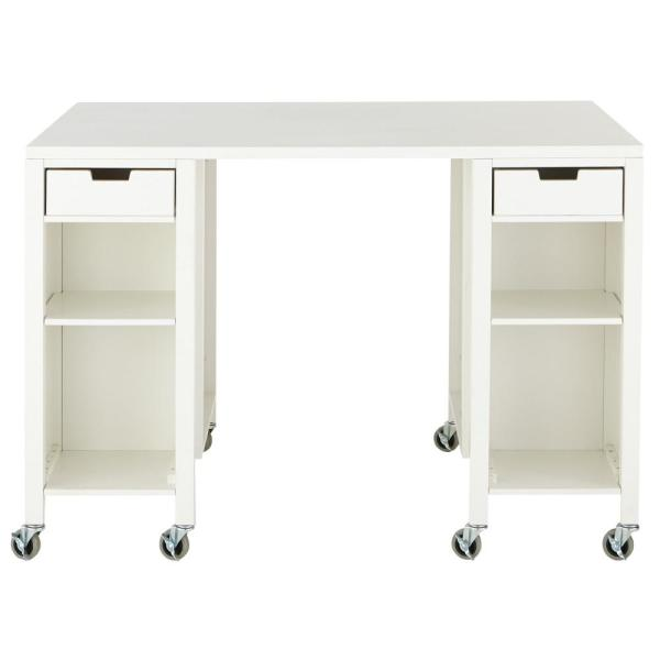 Martha Stewart Living Craft Space Picket Fence White Storage Table with Casters