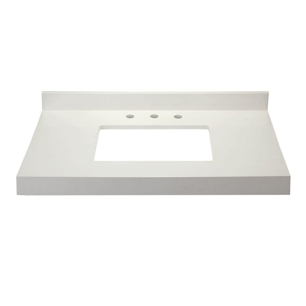 DECOLAV Cameron 38 in. W x 22 in. D x .75 in. H Quartz Vanity Top in White