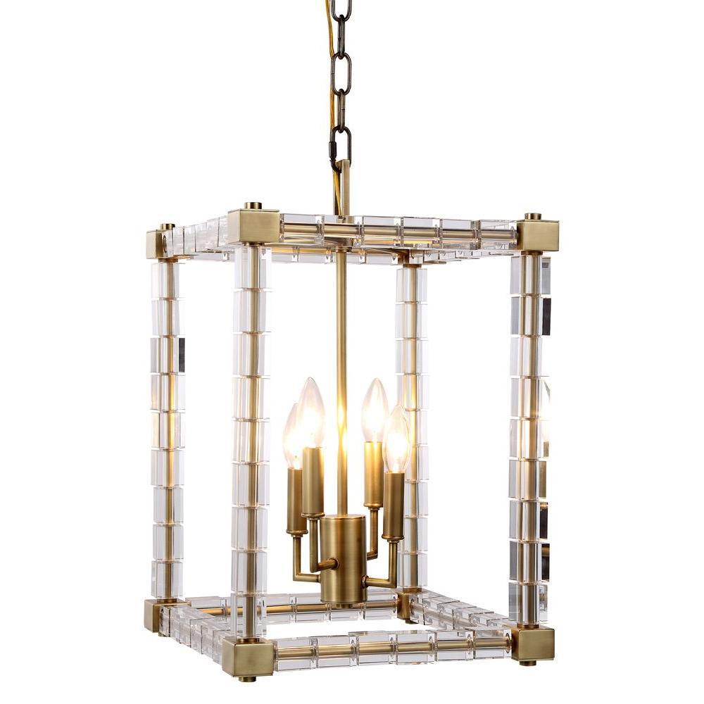 Cristal 4-Light Burnished Brass Crystal Clear Pendant