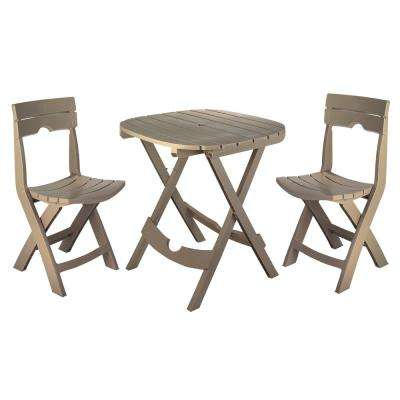 Quik-Fold Portobello 3-Piece Resin Plastic Outdoor Bistro Cafe Set