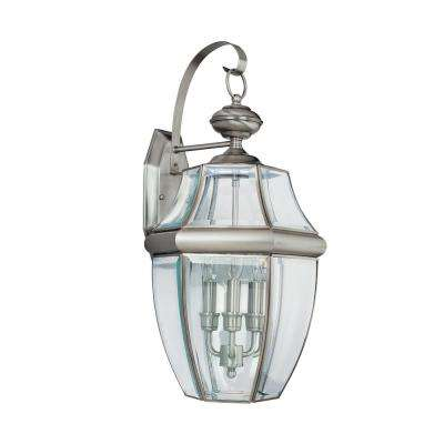 Clearance outdoor wall mounted lighting outdoor lighting the lancaster 3 light antique brushed nickel outdoor wall fixture aloadofball Choice Image