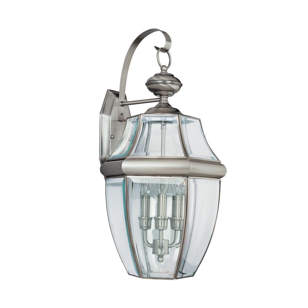Lancaster Extra Large 3-Light Antique Brushed Nickel Outdoor Wall Mount Lantern
