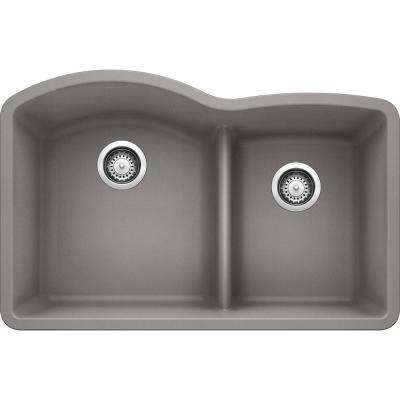 DIAMOND Undermount Granite Composite 32 in. 60/40 Double Bowl Kitchen Sink with Low Divide in Metallic Gray