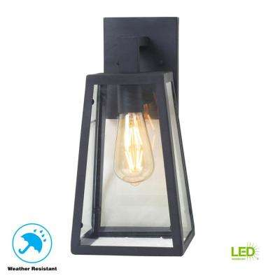 Colonade Collection 1-Light Sand Black Small Outdoor Wall Mount Sconce with Clear Glass
