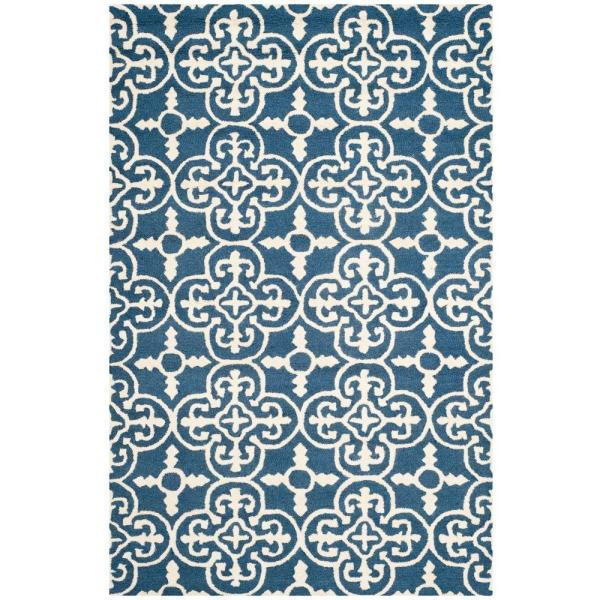 Reviews For Safavieh Cambridge Navy Ivory 5 Ft X 8 Ft Area Rug Cam133g 5 The Home Depot