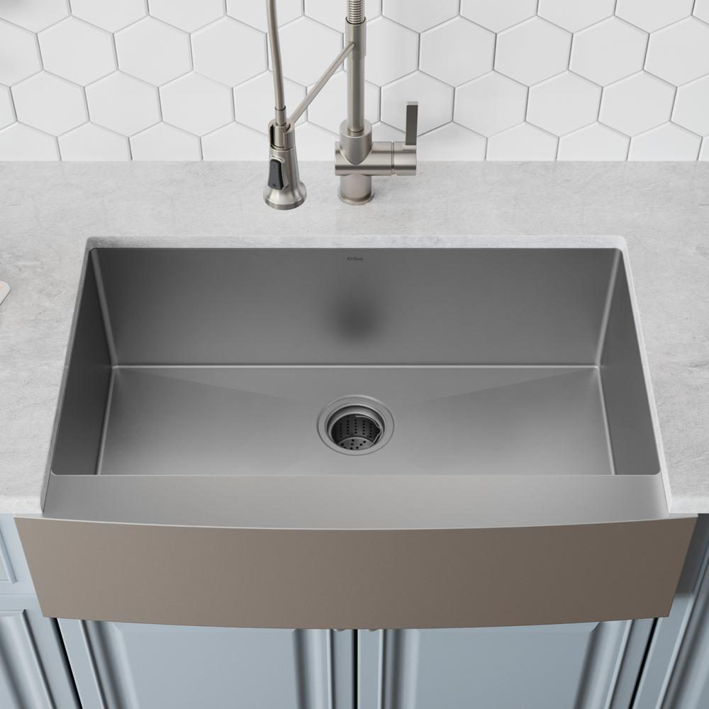 Kraus Standart Pro Farmhouse A Front Stainless Steel 33 In Single Bowl Kitchen Sink
