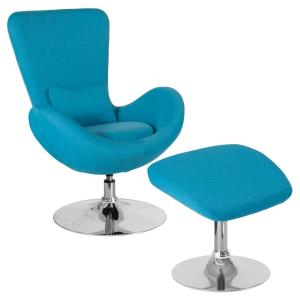 Aqua Fabric Chair and Ottoman Set